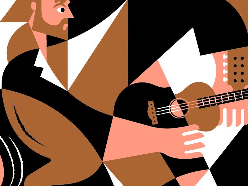 Poster WIP grid shapes silkscreen hand horse guitar man band gig poster poster