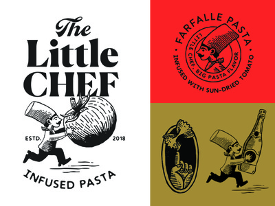 The Little Chef brand assets icon seal logo tomato chef hat food noodles packaging pasta chef logo chef