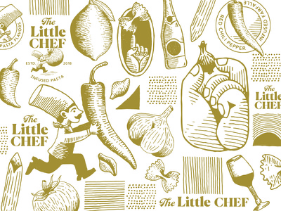 The Little Chef Pattern + Assets logo icon brand identity pattern lemon pepper noodles onion garlic tomato pasta cooking hat chef