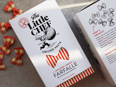 The Little Chef brand identity and pasta packaging logo icon hand packaging design packaging food packaging design tomato food packaging farfalle pasta chef logo chef hat chef