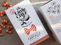 The Little Chef brand identity and pasta packaging