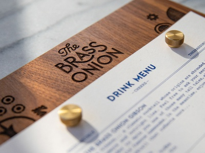 The Brass Onion Brand Identity bar branding brand identity drink menu design menu bar restaurant onion brass