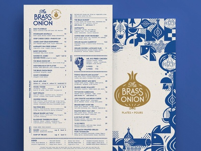 The Brass Onion Menu Crop restaurant branding brand identity page layout cow chicken brass onion menu design menu