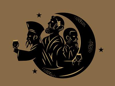Brewery Rebrand Illustration Asset greek drink glass philosophy philosopher space moon packaging brewery beer