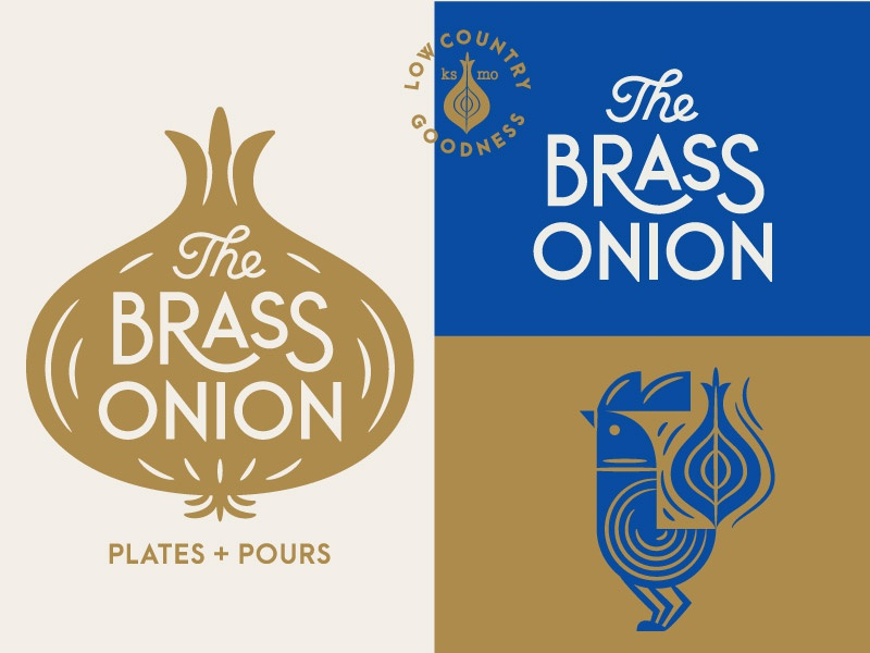 The Brass Onion Identity Materials wordmark branding identity country restaurant seal logo type bird chicken brass onion brass onion