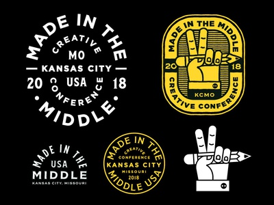 Made in the Middle Iconography branding lettering design conference stamp mark logo icon seal pencil peace sign peace hand