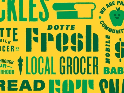 Mobile Grocer Identity Exploration local food bread stencil icon seal carrot pattern lettering typeography type apple grocery