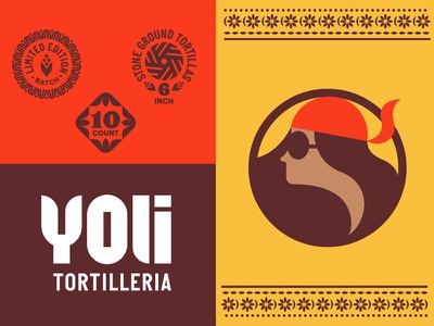 Yolk Tortilleria Identity Pieces seal logo food packaging brand identity brand yoli corn sunglasses scarf girl tortilla