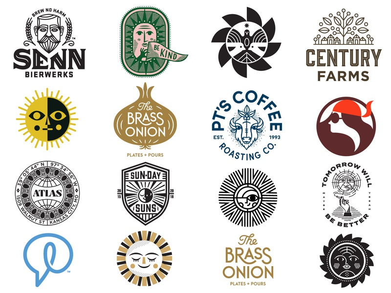 Carpenter Collective Logos brewery beer onion hand farm sunshine sun bison logo lounge icons icon branding mark logo design logos logo