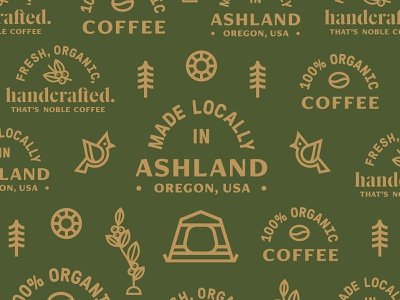Coffee Rebrand Support Assets roasting coffee camping pine tree northwest sun tent bird badges branding icons design type icon