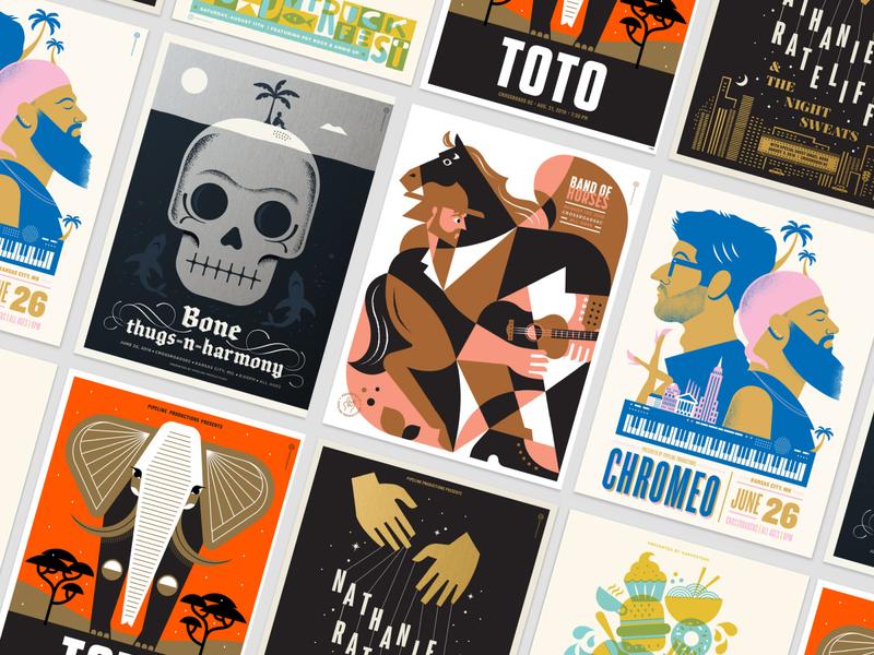 Gig Posters 2018-2019 typedesign lettering poster design poster art band poster music gig poster poster color design illustration