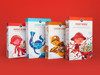 Publix Cereal Line jungle leaves ocean adventurer astronaut swimming box food kids packaging cereal