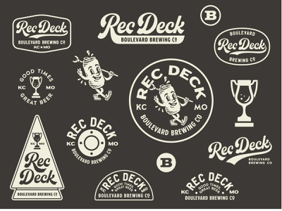 Rec Deck Brand Identity & Logo System sports trophy beer bottle beer bar shuffle board brand design brand identity logo design icon logo bar beer packaging can beer