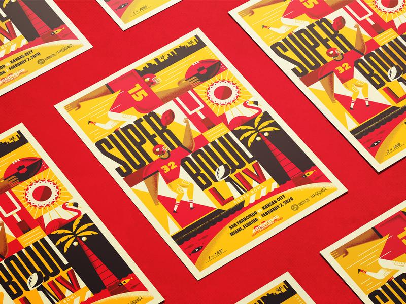 Chiefs Limited-Edition SB LIV Poster poster illustration touchdown sports beach sunshine sun miami flamingo football chiefs