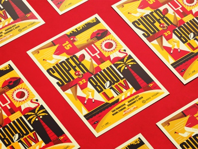 Chiefs Limited-Edition SB LIV Poster poster illustration touchdown sports beach sunshine sun miami flamingo football chiefs