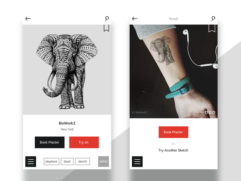 InkInk. Mobile app for tattoo lovers minimal ux ui social tattoo app mobile