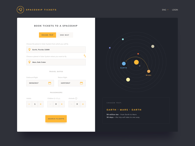 Spaceship tickets trevel plane ux ui webapp app tickets spaceship