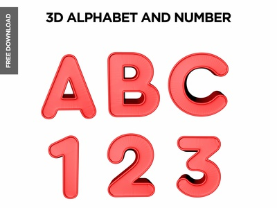 Free 3d Alphabet and number mockup