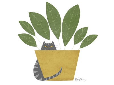 Invisible character design humor funny plant vector illustration cute cat