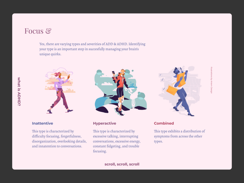 Focus &  – My Personal ADHD Handbook website presentation guidebook mental health illustration typography handbook add adhd