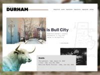 Welcome to Durham city travel landing page web brutalism bull city durham