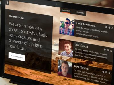 SmorrsCast smorrs minimal flat podcast audio mountains transparent valenti cole jaye web design startup show interview pioneer