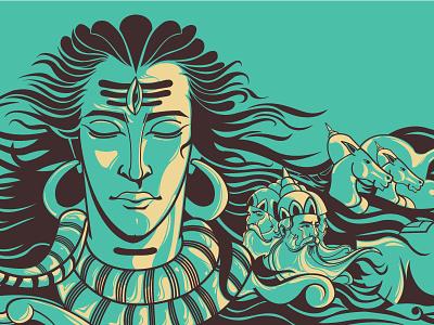 Origin of Ayurveda illustration indian mythology vedas shiva ayurveda