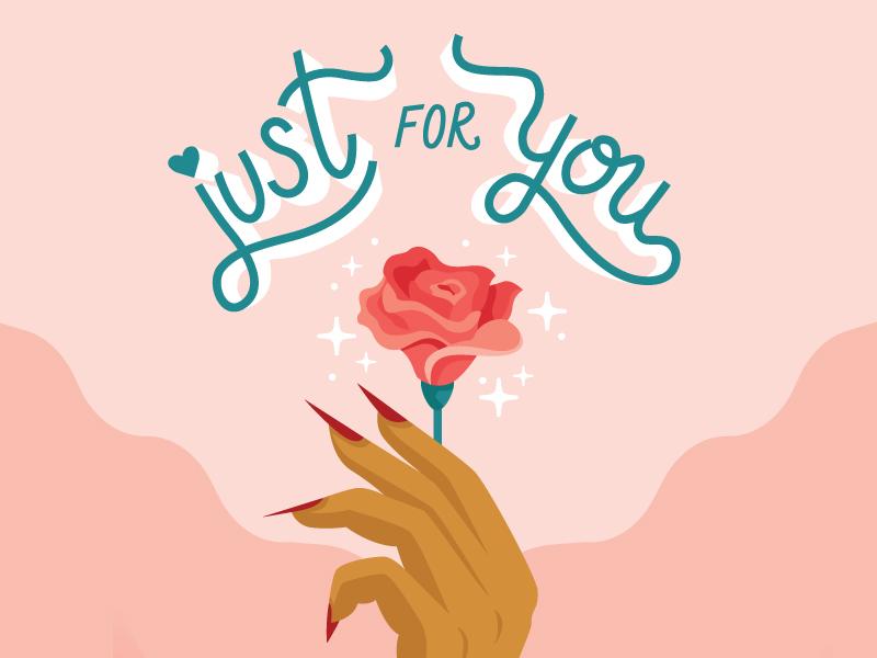 Just For You Valentine femme pink valentine sparkles flower custom type lettering rose