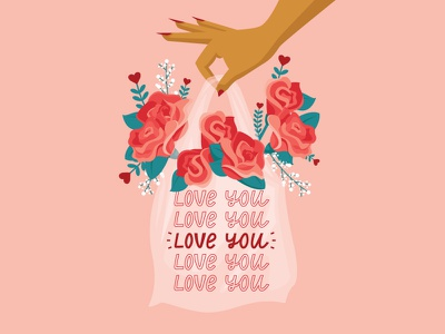 Love You Valentine flowers romantic valentine hearts plastic bag bag roses love you