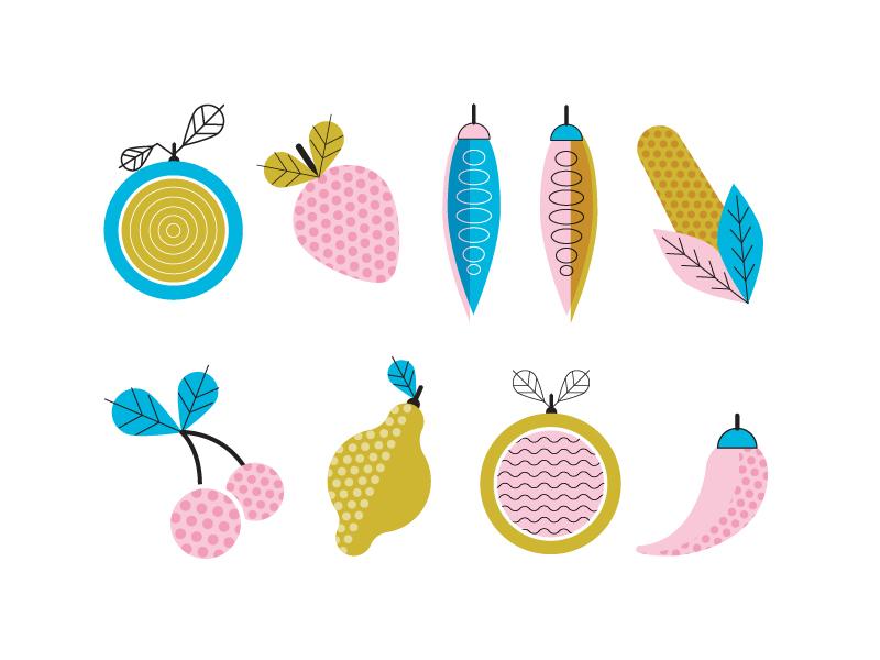 Fruit & Veggie illustrations digital drawing illustrator design icon pepper grapefruit lemon cherries corn beans strawberry fruit