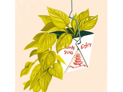 Pothos Take Out hanging plant planter take out chinese take out botanical pothos plant drawing procreate illustration