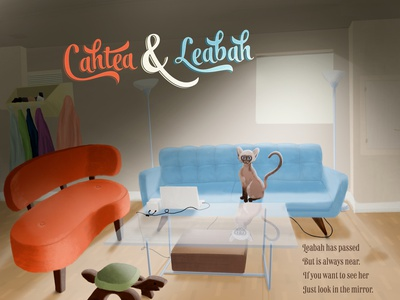 Cahtea & Leabah gouache mid century digital painting pencil children book illustration childrens book cat design illustration photoshop