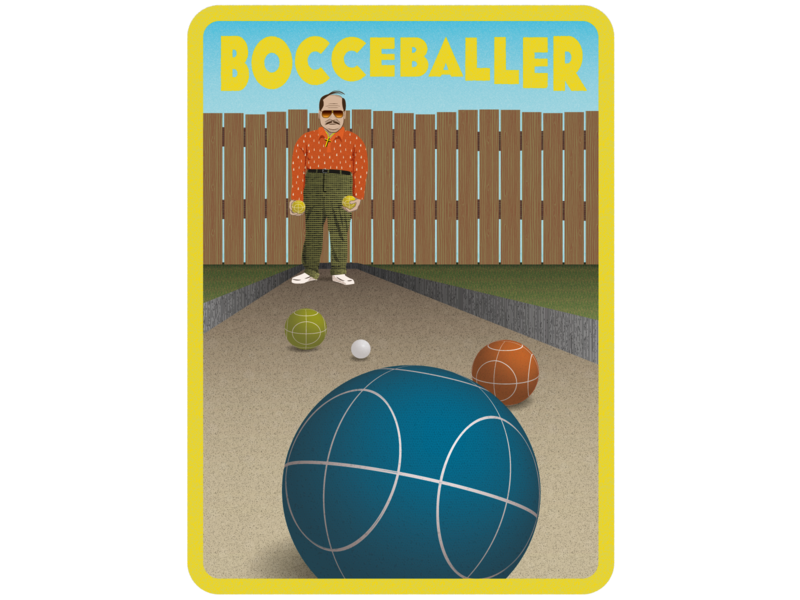 Bocce Baller fence ball bocce man sports retro digital illustrator illustration