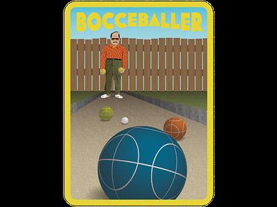 Bocce Baller fence ball bocce man sports retro digital illustrator illustration