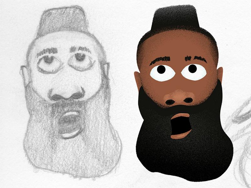 WIP Sneak Peak James Harden Character paper pencil texture vector cartoon character design basketball houston rockets nba james harden