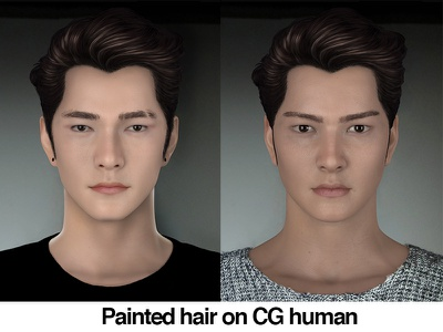 Painted Hair on CG human realism cg human brushes painting photoshop