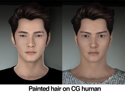 Painted Hair on CG human