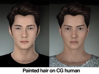 Painted Hair on CG human