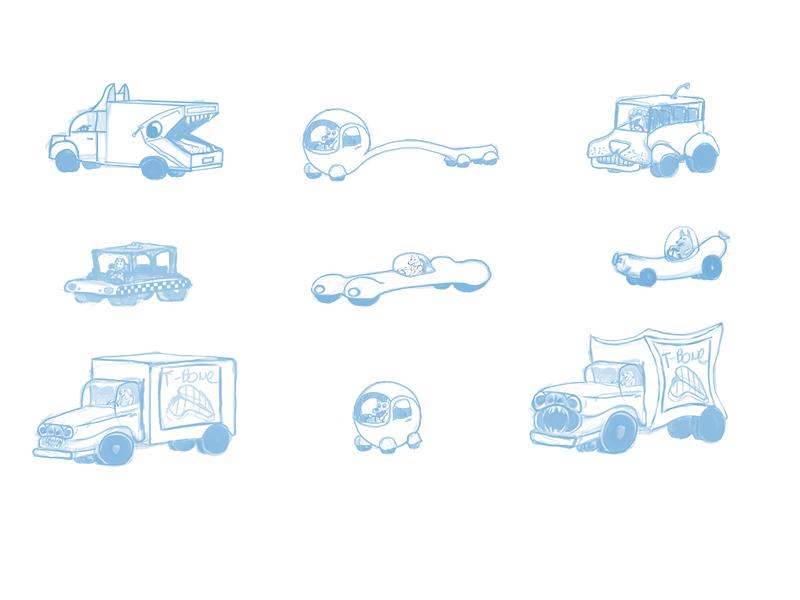 Vehicle Design for Dog City truck car dog vehicle design blue line concept art