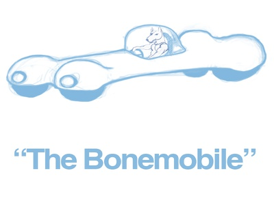 """The Bonemobile"" Concept Art cartoon vehicle car dog photoshop digital painting concept art"