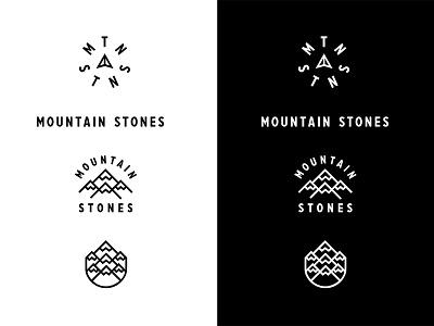 Mountain Stones Stystem minimalist marks graphic design design outdoors mountains black and white logos system branding