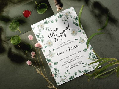 Gardenia Engagement Invitation