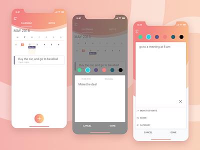 Mobile App - Calendar and Notes good design iphone x gradient 2019 trend notes ui  ux ui clean calendar app mobile app