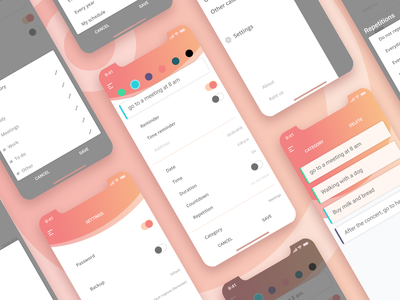 Mobile App - Calendar and Notes clean calendar notes mobile iphone x gradient design 2019 trend ui  ux mobile app ui