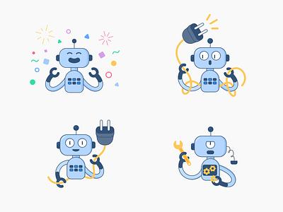 Robot brand mascot states brand identity brand uxui robot mascot branding app flat icon ux design ux interaction vector ui ui design illustration