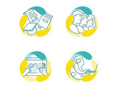 Working Conditions 👨🏻💻 working education training team interdisciplinarity job flat web ux design icon logo ux interaction vector flat  design design ui illustration ui design