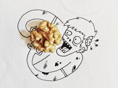 Nuuuts! 🧟♂️ nut line zombie nuts drawing illustration