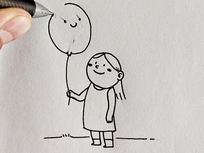 Balloon 🎈 line draw kids balloon illustration drawing