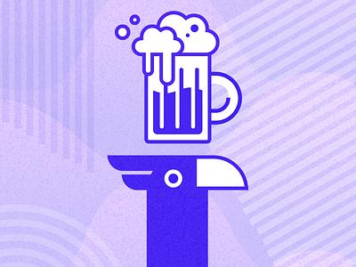Bird Beer 🍻 ux ui vector nature jungle background brewery eagle bird beer figma design flat illustration digital