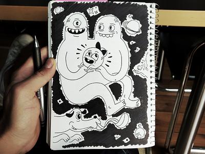 🛸 Alien Family 👽 outer space family alien design pen ink illustration drawing